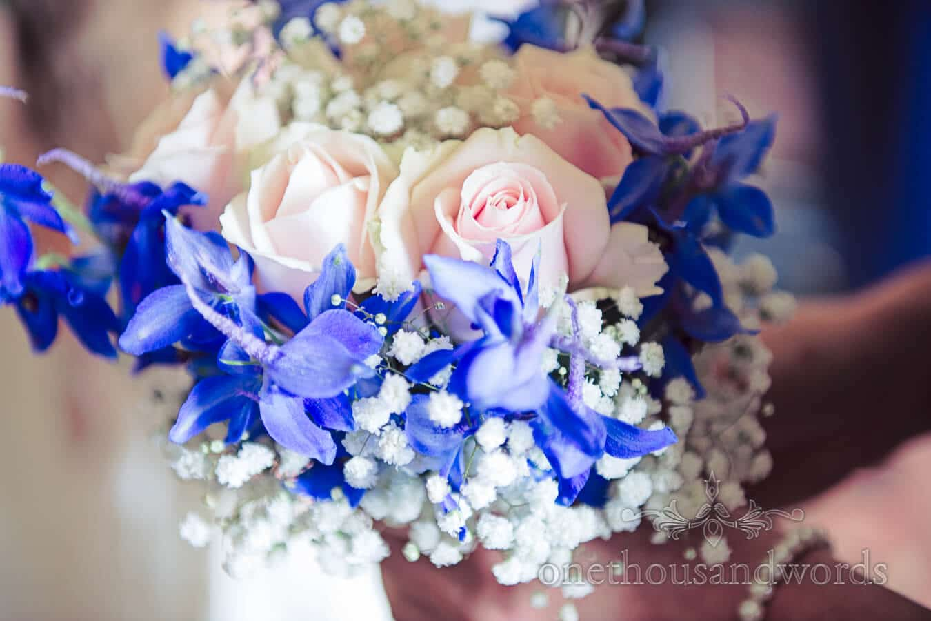 Pink and Blue Countryside Wedding flower bouquets