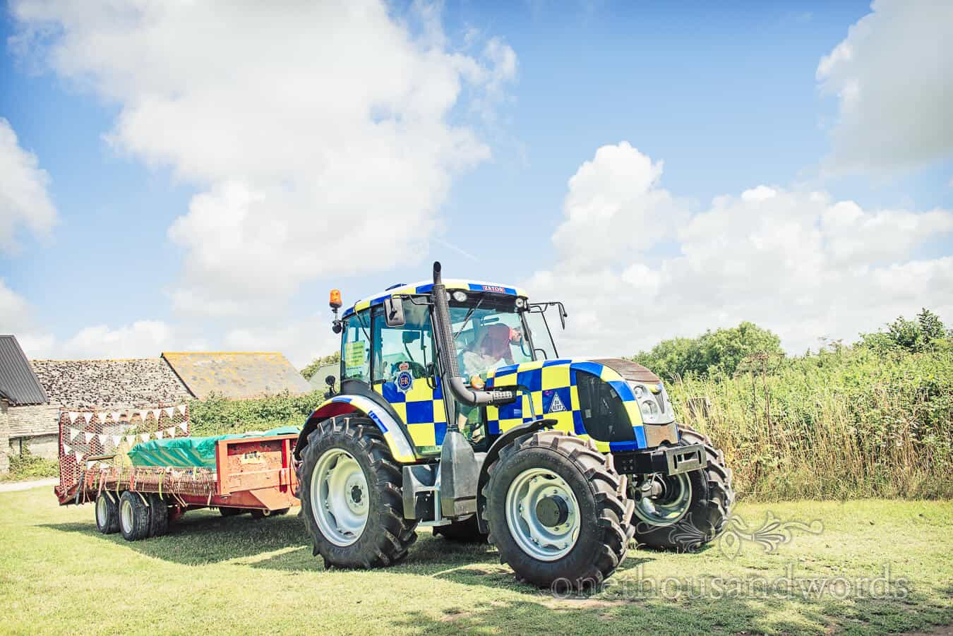 Police Tractor at Dorset Home Wedding
