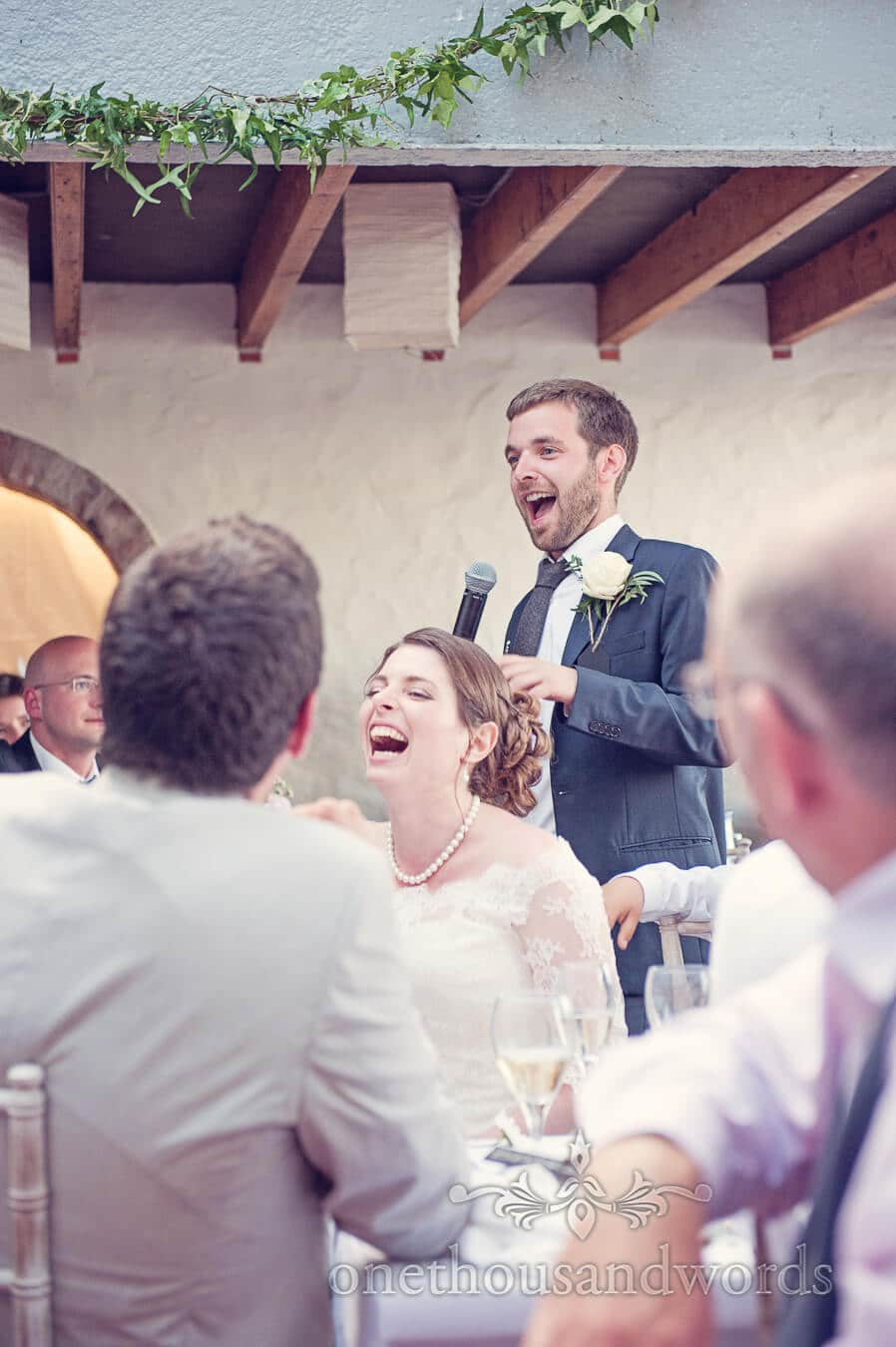 Prussia Cove Wedding Photographs of Best Man's speech
