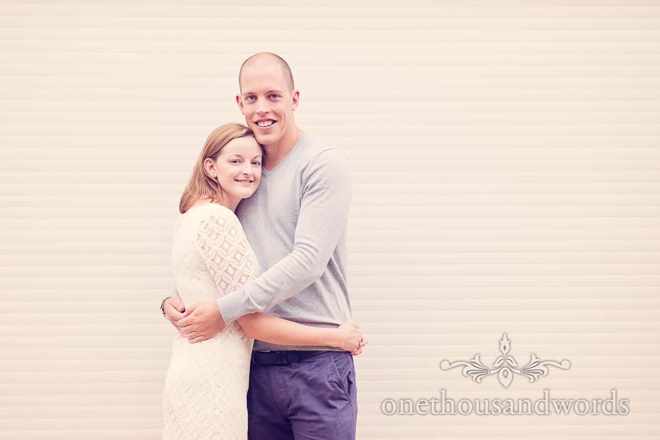 Sandbanks Hotel Engagement Photograph of wedding couple hugging