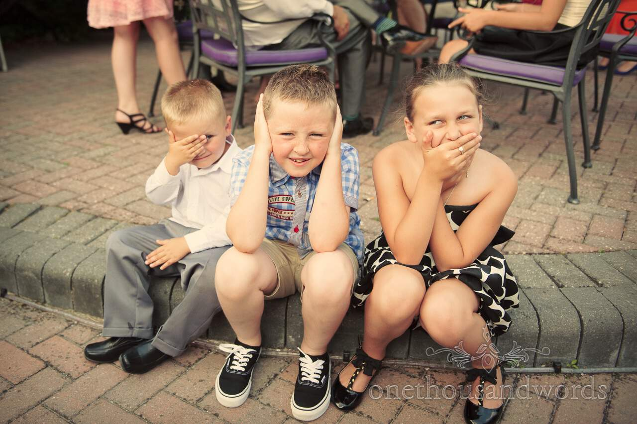 See no evil children wedding guests at The Lord Bute