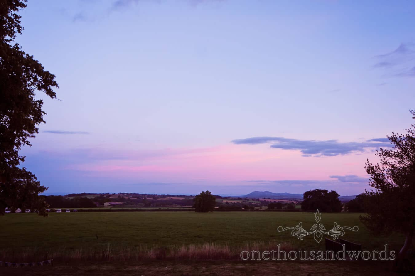 Sunset over Countryside Wedding fields