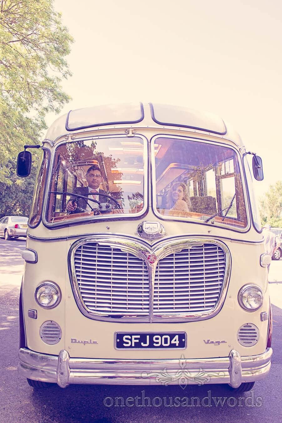 Vintage Style Wedding Bus Photograph