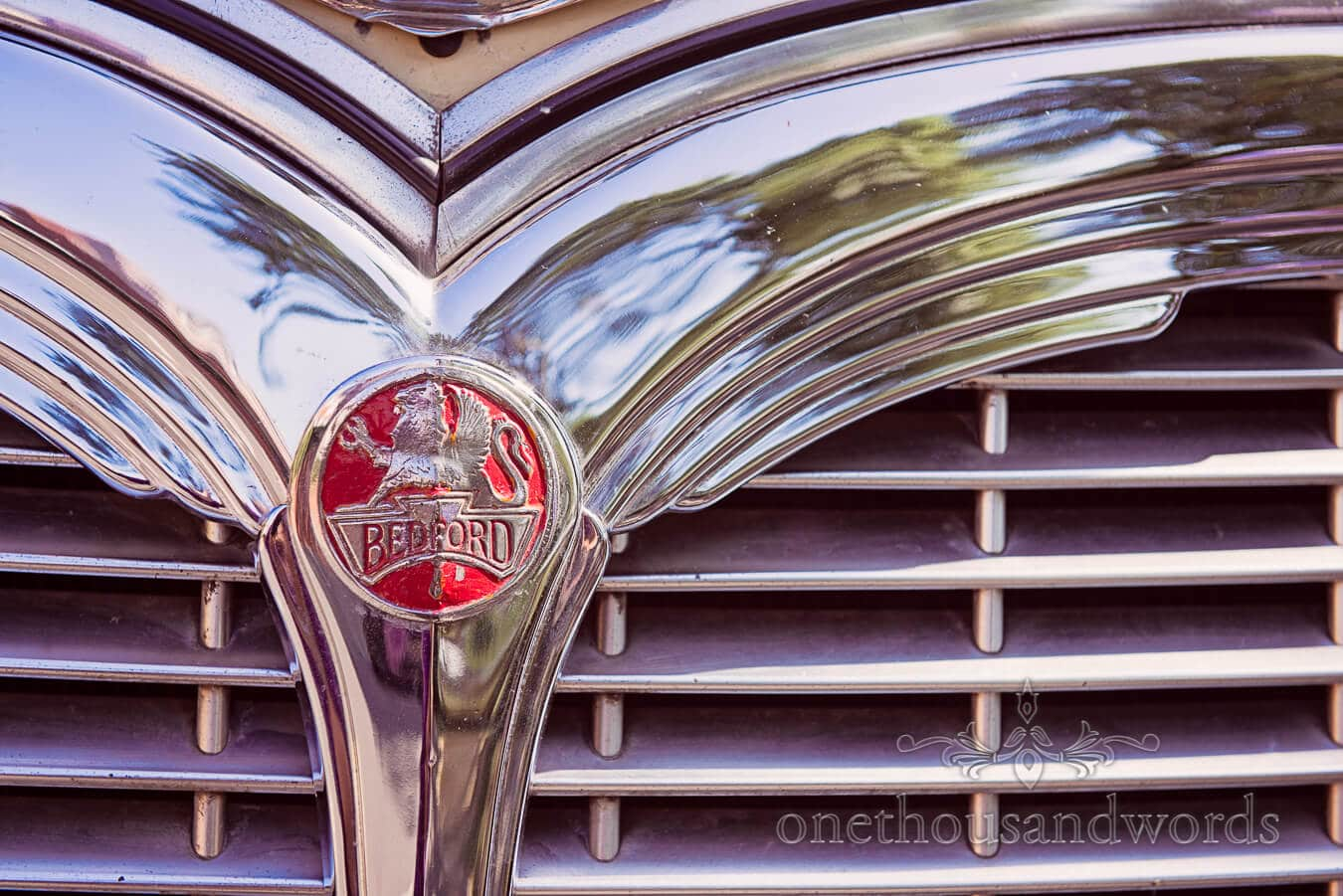 Photograph of Classic wedding Bedford Bus Chrome Grill