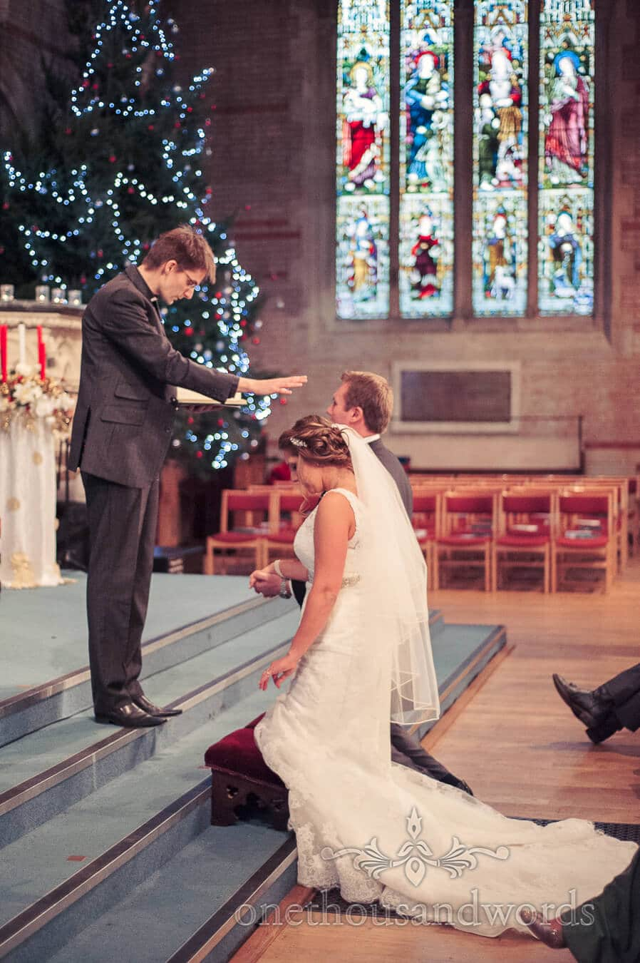 Wedding blessings in church at Christmas time
