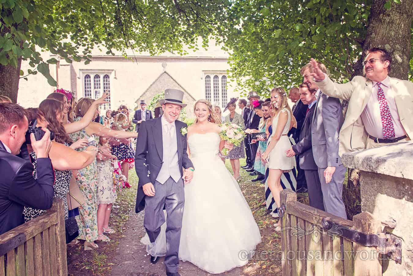 Wedding confetti at english country church wedding in Dorset