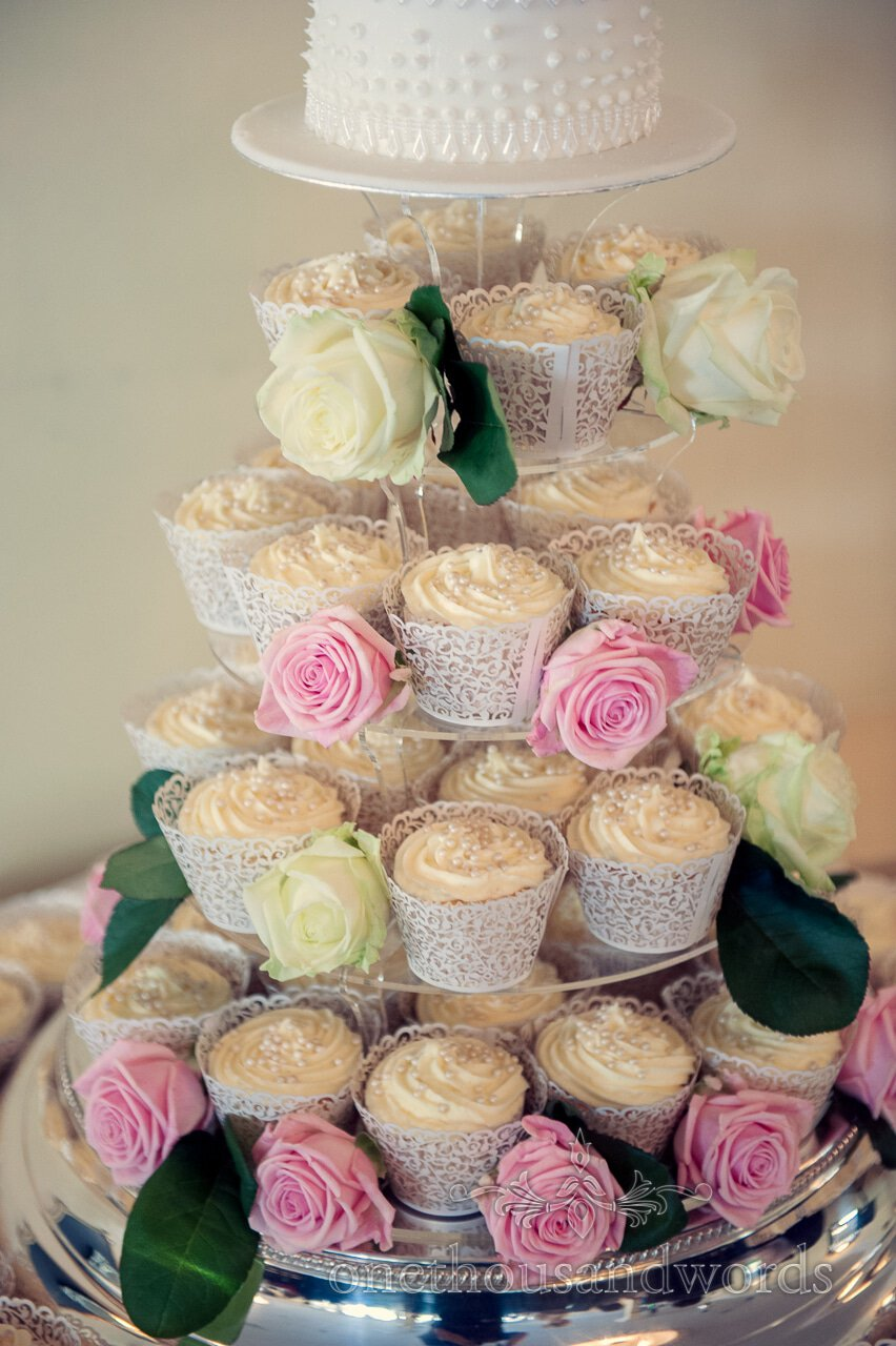 Wedding cupcakes with roses at Lord Bute Wedding Photographs