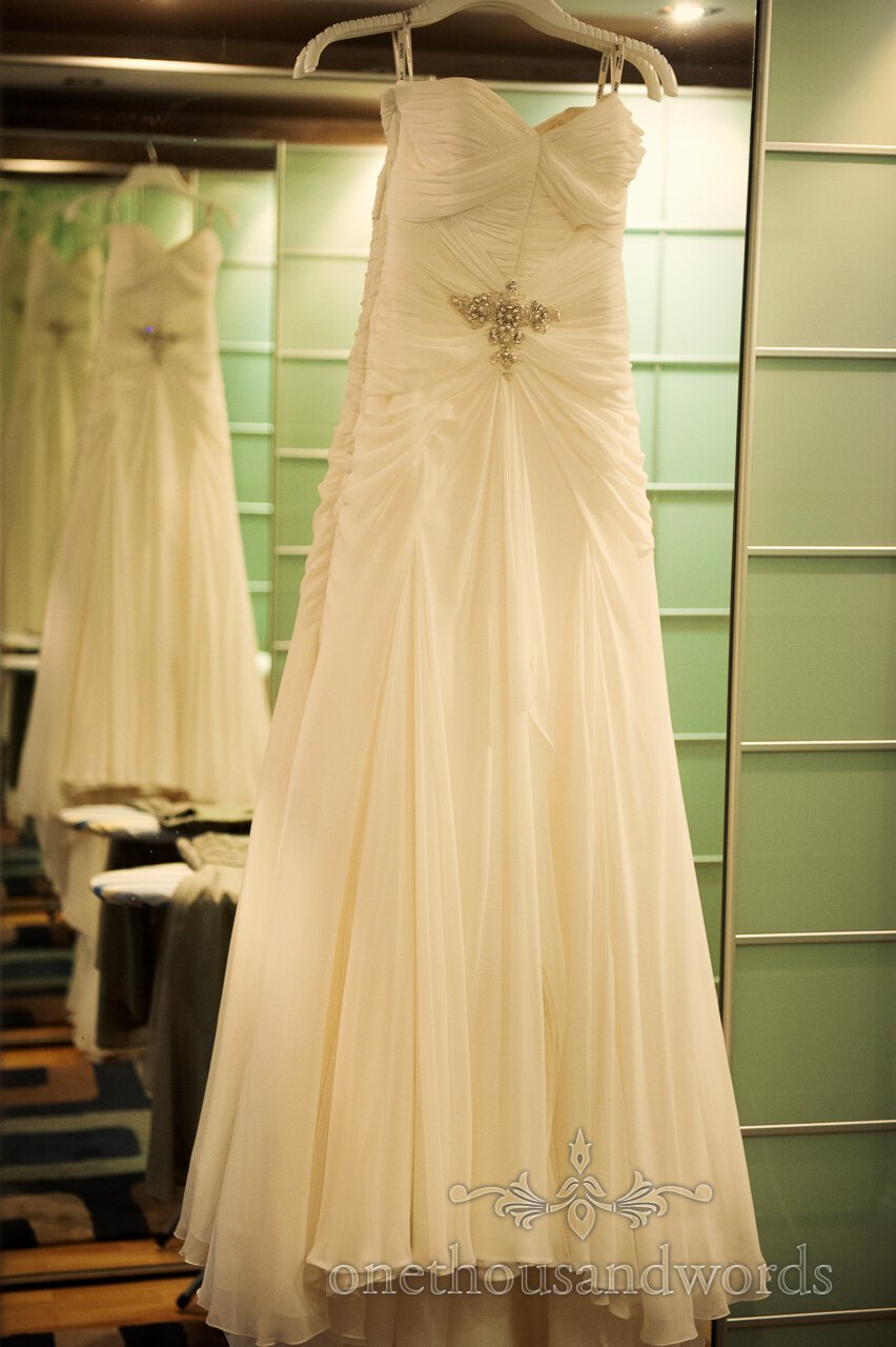 Wedding dress in mirror at Lord Bute wedding photographs