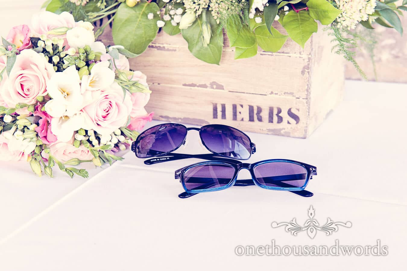 Wedding Flowers and sunglasses with floral Wooden Herbs Box