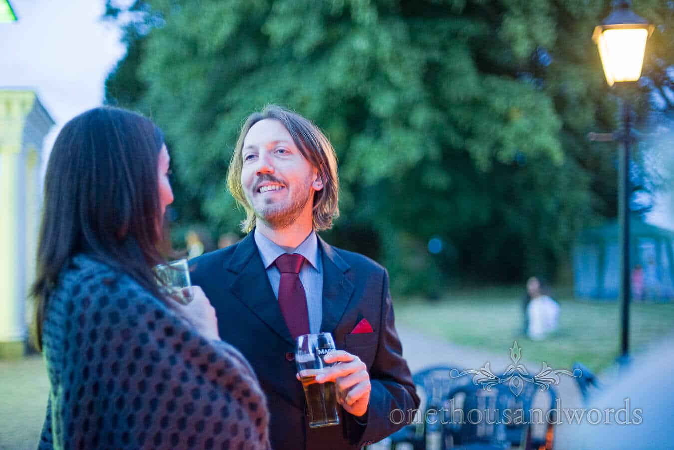 Wedding guest at Countryside Wedding evening drinks reception
