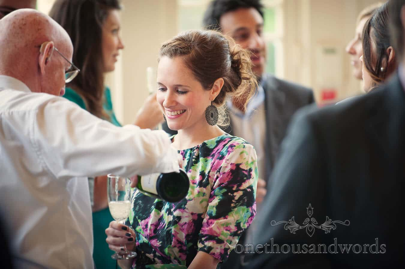 Wedding guest at Highcliffe Castle drinks reception