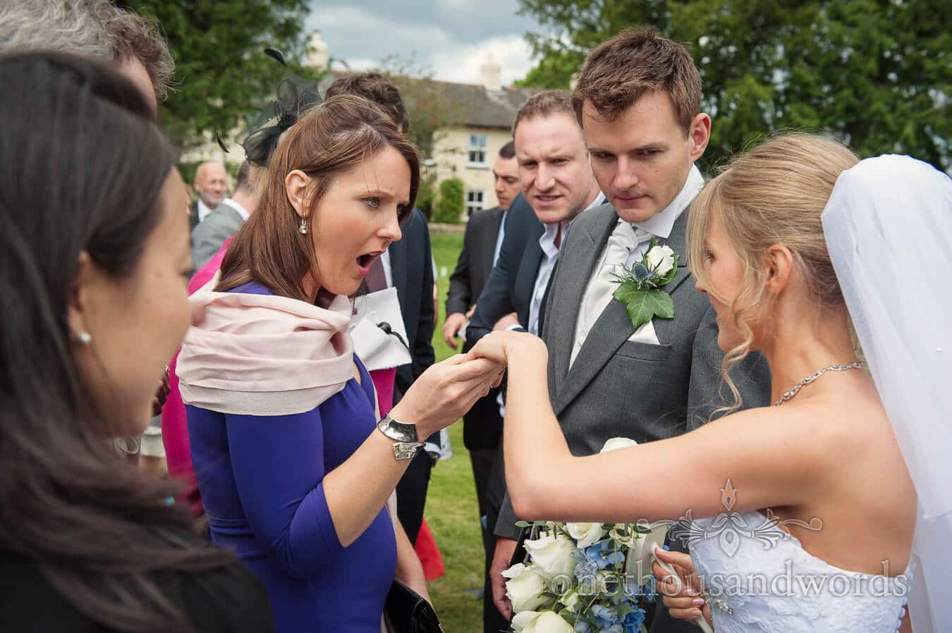 Wedding guest reaction to wedding ring at Country Theme Wedding