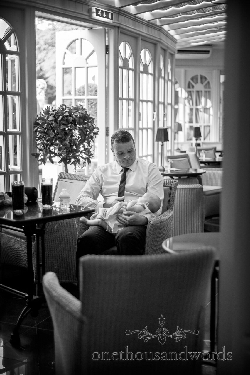 Wedding guest with baby at Lord Bute wedding venue