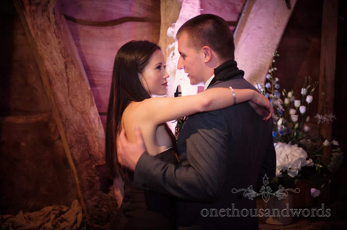 Wedding guests embrace at Barn Country Theme Wedding