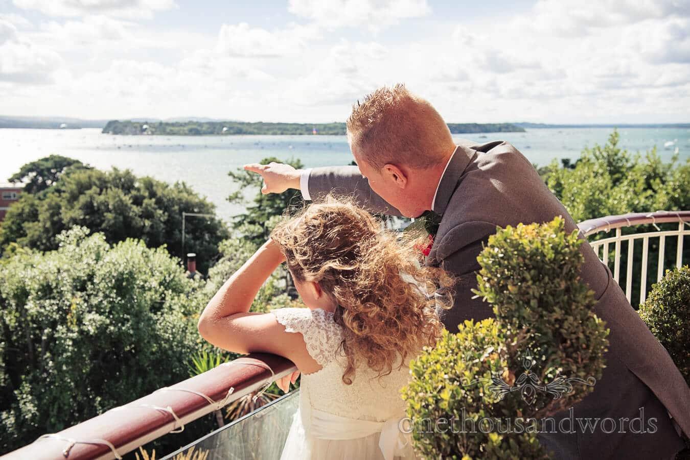 Wedding guests enjoying sea views at Harbour Heights, Poole wedding venue