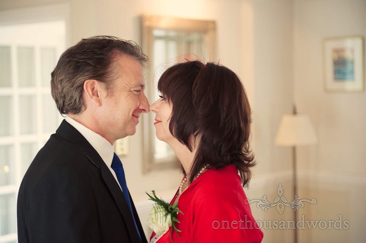 Wedding guests eskimo kiss at Lord bute wedding photographs