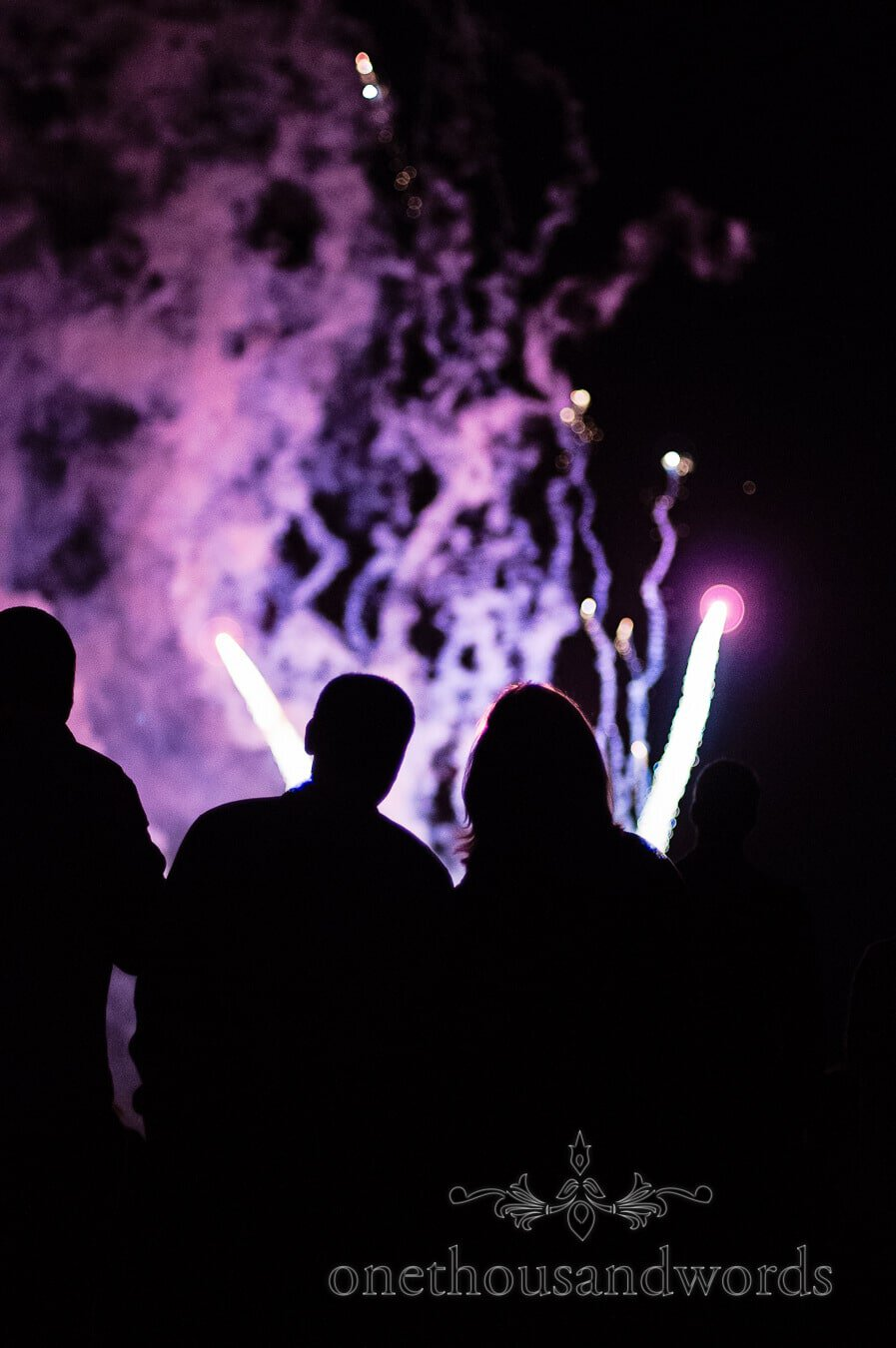Wedding guests in silouette watch wedding fireworks