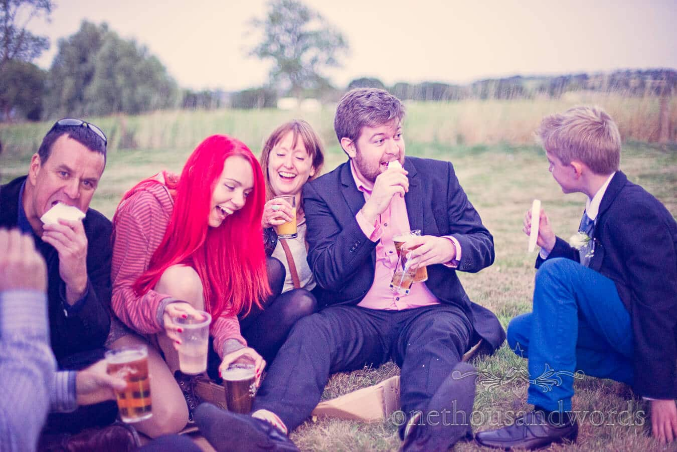 Wedding guests joking at Countryside Wedding evening reception