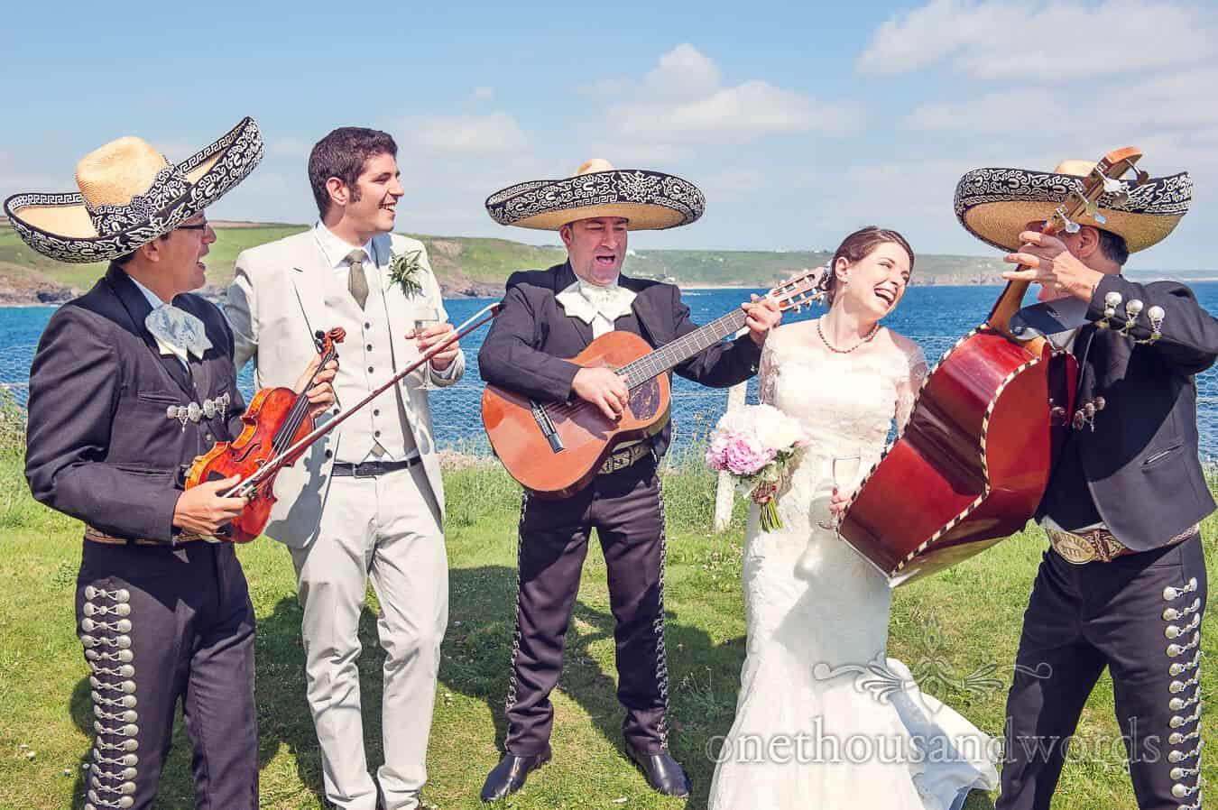 Wedding mariachi band at Prussia Cove wedding venue in Cornwall