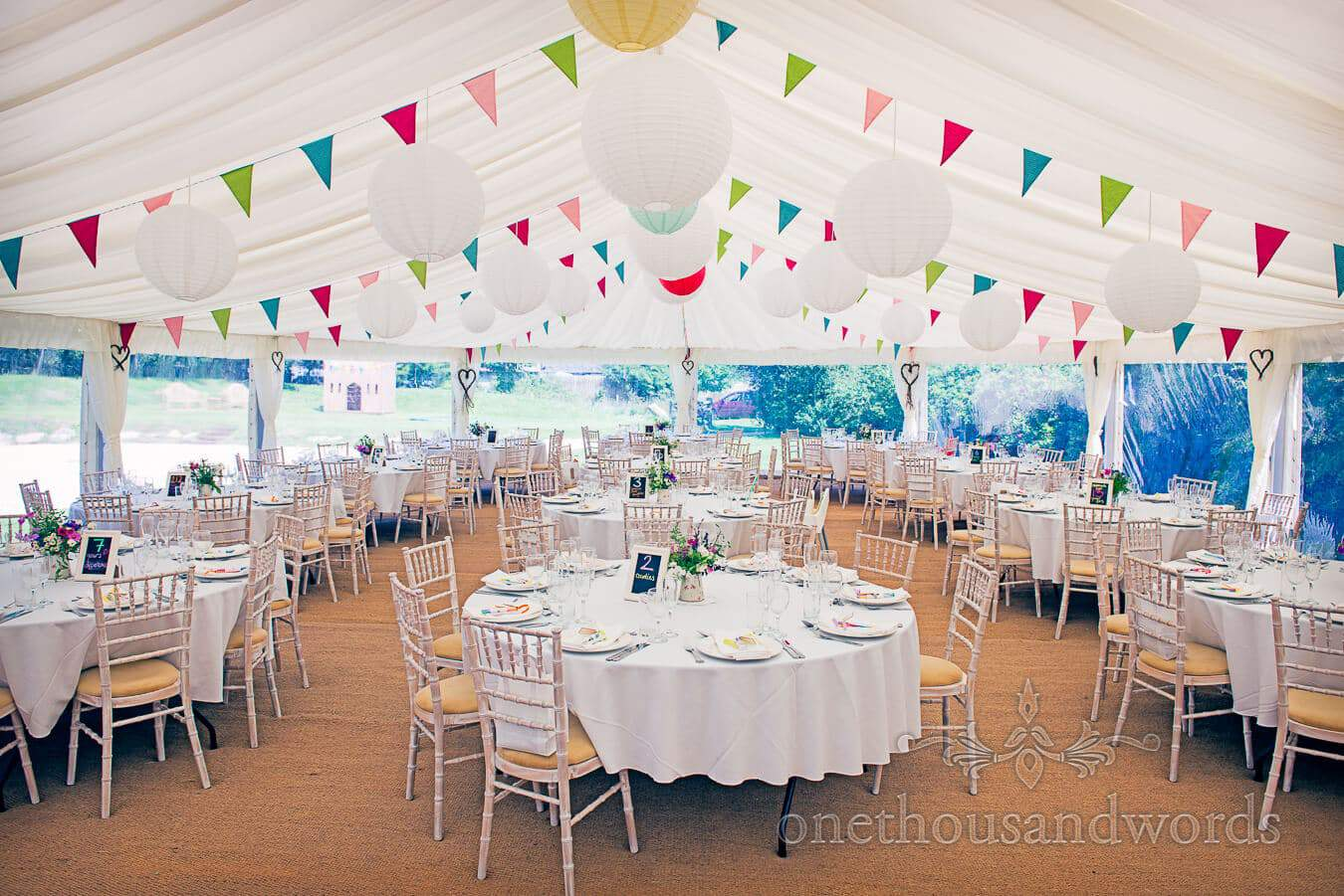 Wedding Marquee at Dorset Home Wedding with colourful wedding bunting