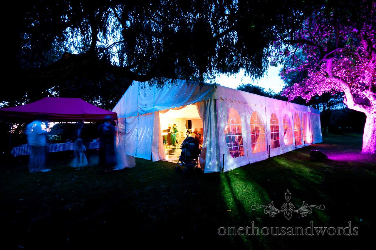 wedding marquee with coloured lighting