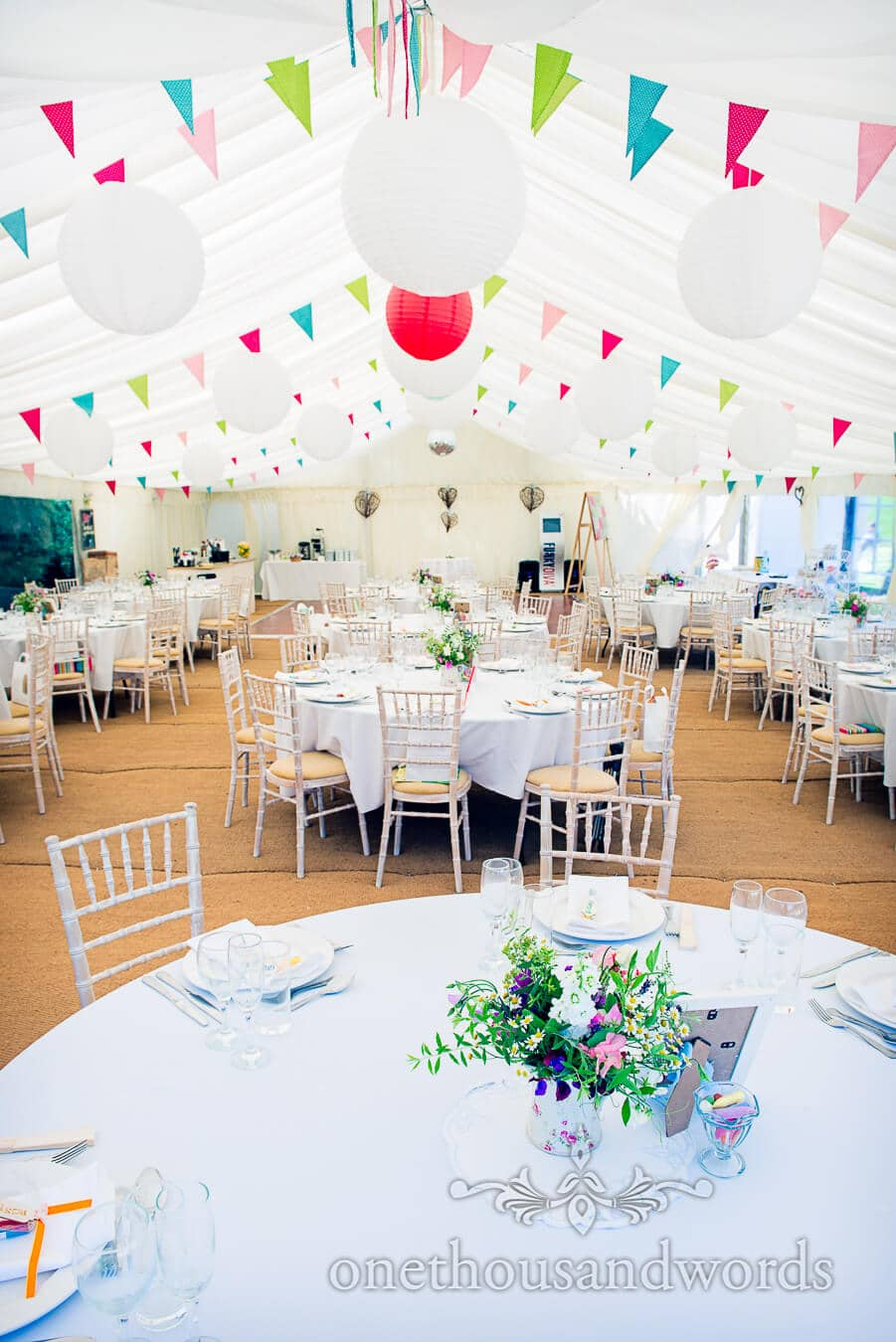 Wedding marquee with colourful wedding bunting