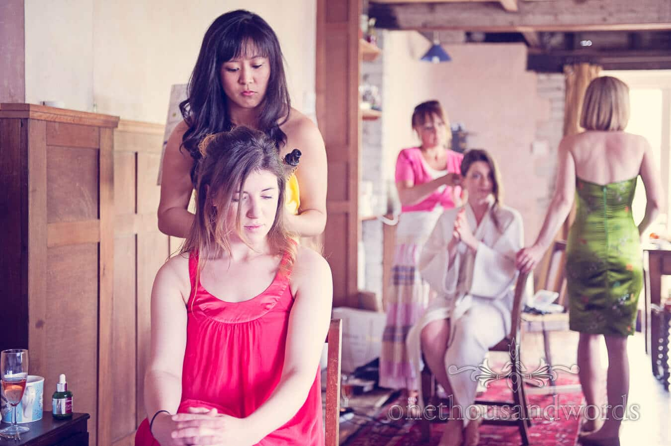 Wedding morning hair dressing at Prussia Cove Wedding venue