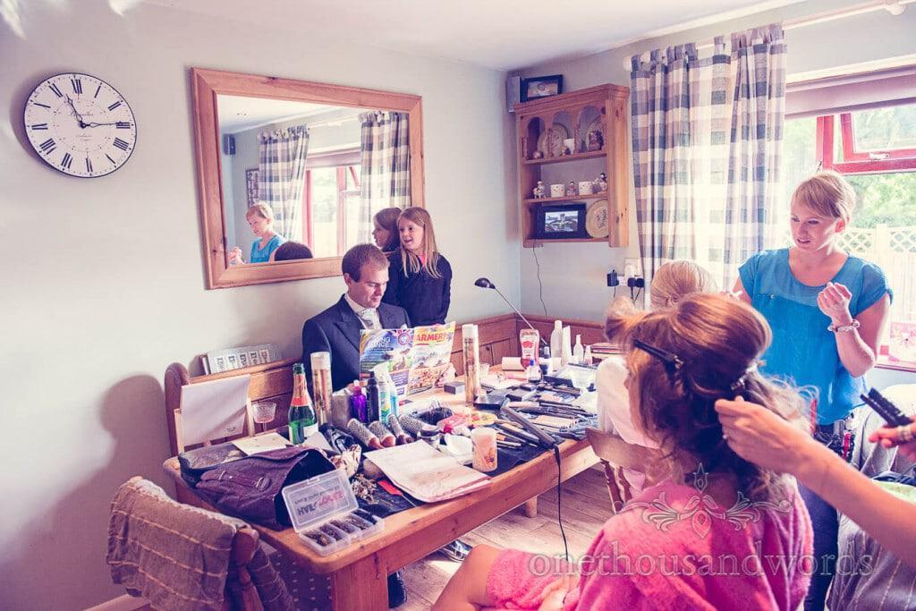 Wedding morning preparation at countryside themed wedding