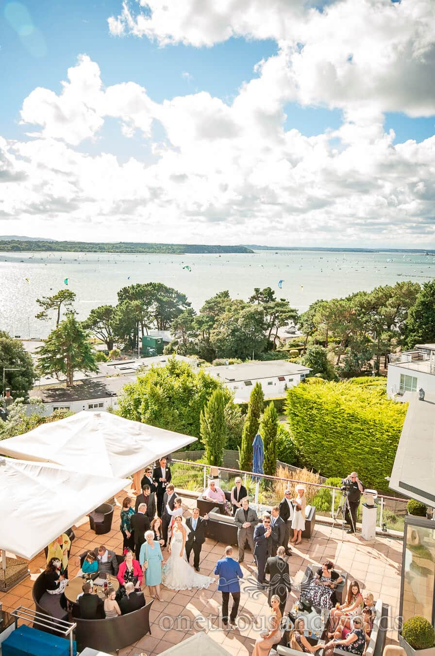Wedding party in the summer sun at Harbour Heights Poole wedding venue