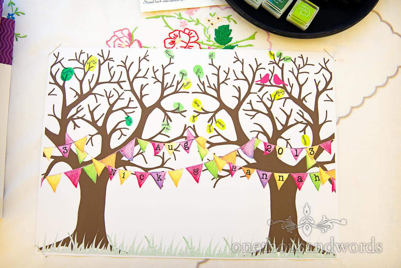 Wedding tree for guests to leave thumb print and message board