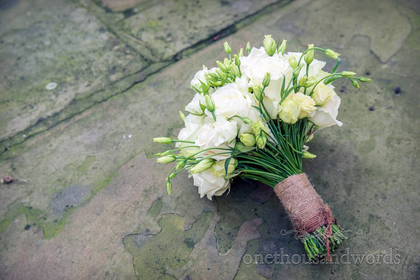 White Rose Wedding Bouquet tied with string
