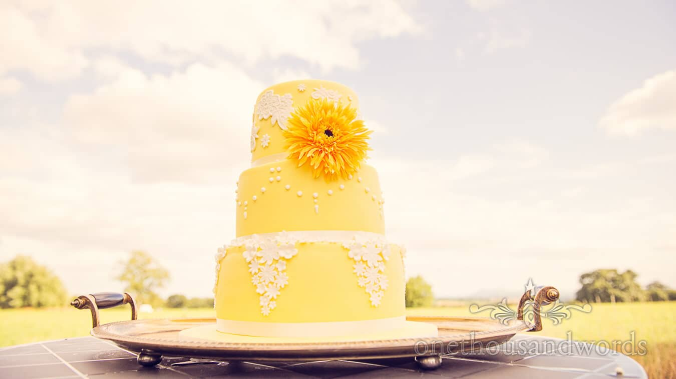 Yellow wedding cake with yellow flower and white detail at Countryside Wedding