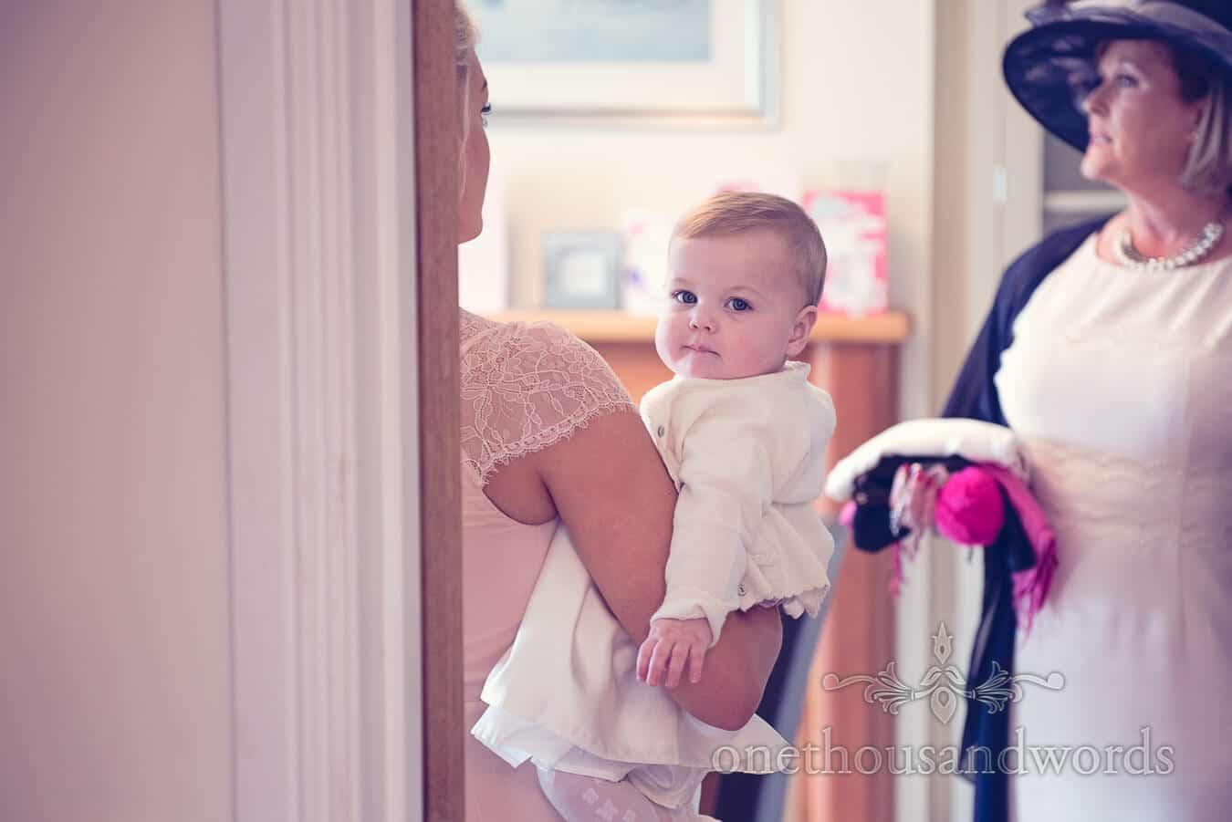 Baby on wedding morning