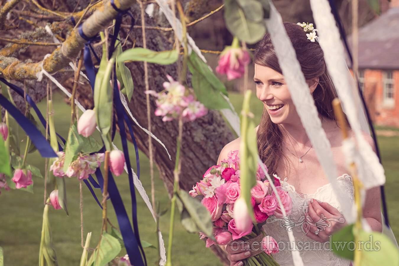 Bridal portrait in garden during wedding at Sopley Mill