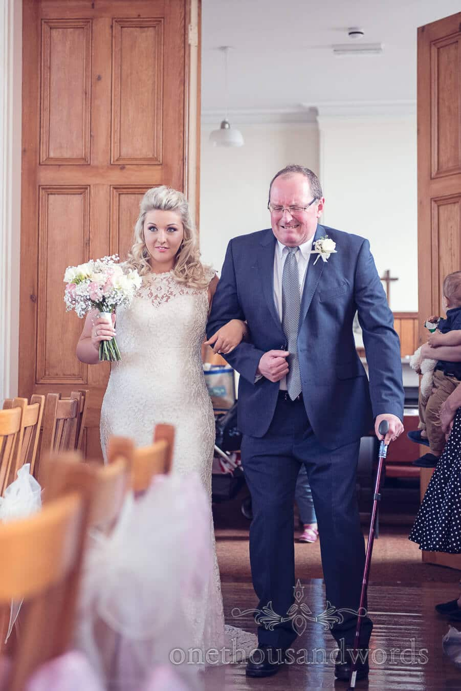 Bride and father from Purbeck Golf Club Wedding