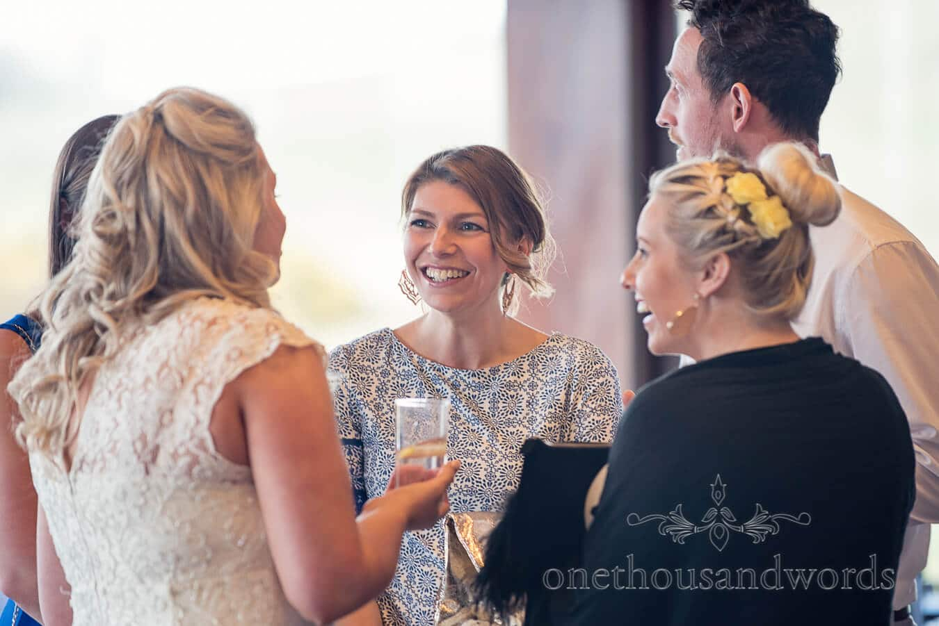 Bride chats with guests at Purbeck Golf Club Wedding