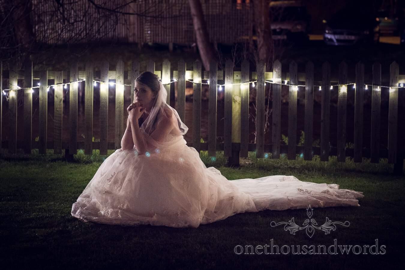 Bride in garden from wedding at Sopley Mill