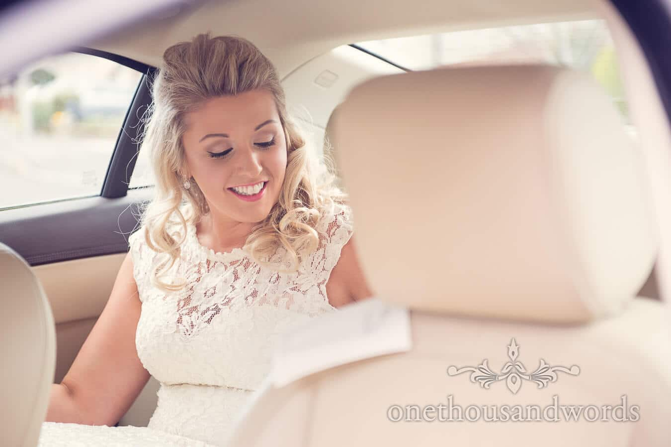 Bride in wedding car at Purbeck Golf Club Wedding