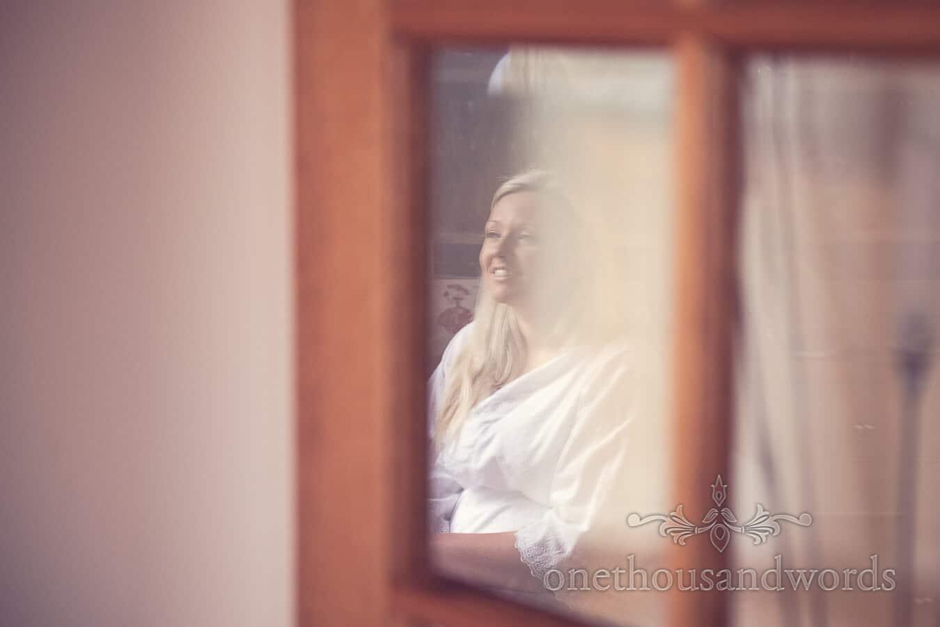 Bride on morning of Purbeck Golf Club Wedding