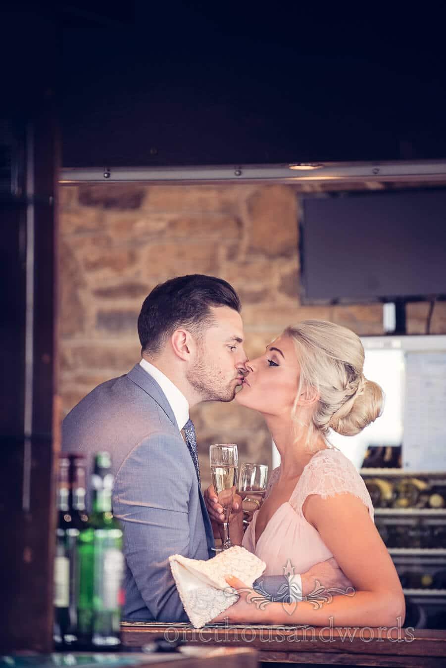 Bridesmaid kiss at Purbeck Golf Club Wedding