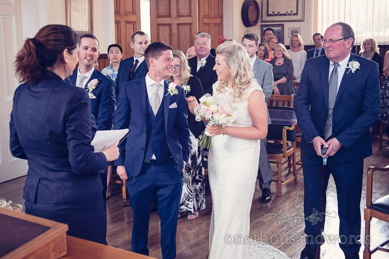 Civil wedding ceremony at Swanage town hall
