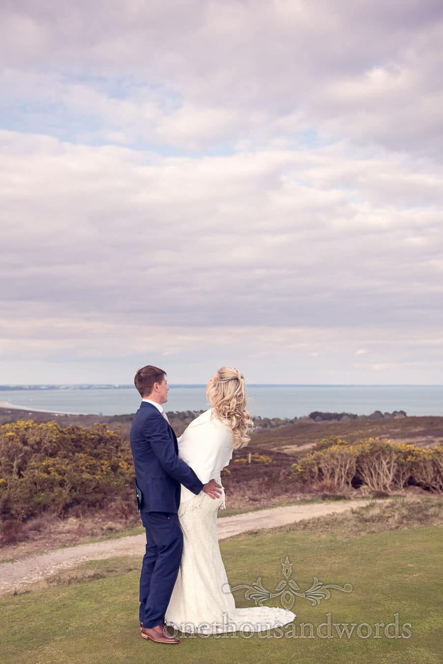Couple on 5th green at Purbeck Golf Club Wedding