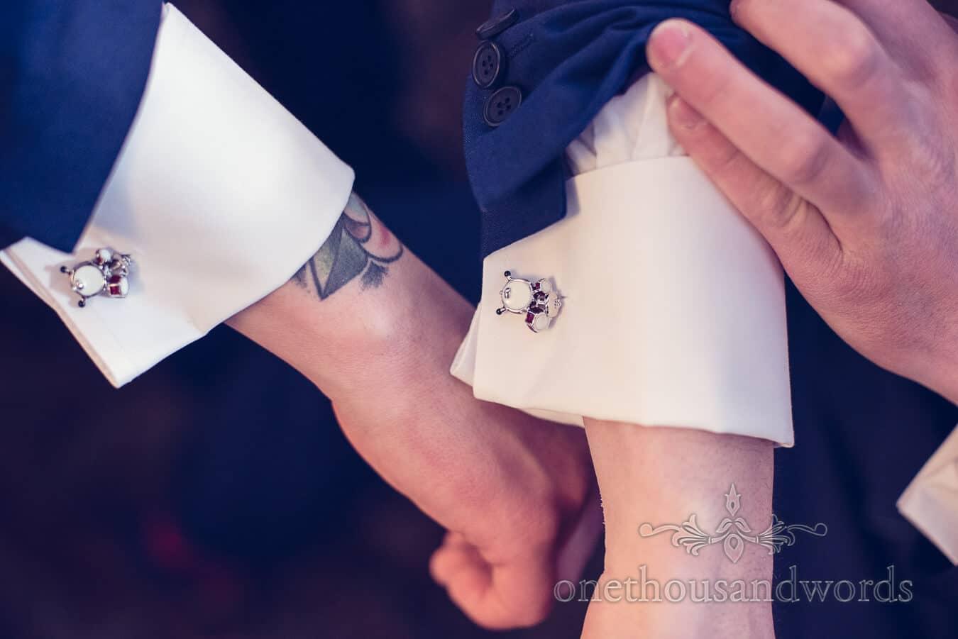 Drum cuff links detail from Purbeck Golf Club Wedding