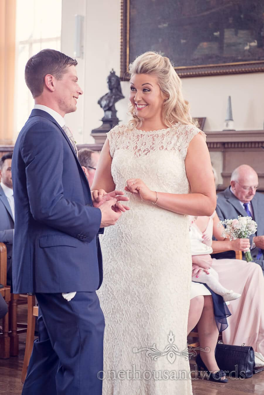 Exchange of rings from Purbeck Golf Club Wedding