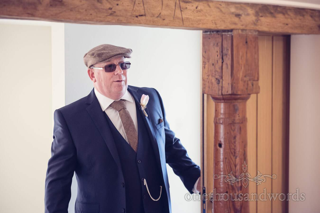 Father of the bride before wedding at Sopley Mill