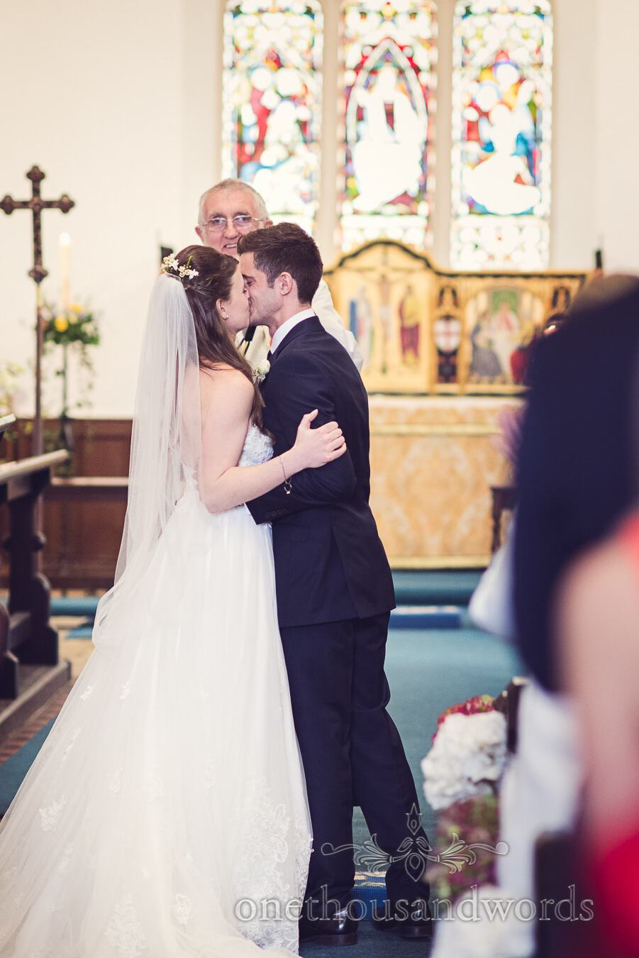 First kiss from wedding at Sopley Mill