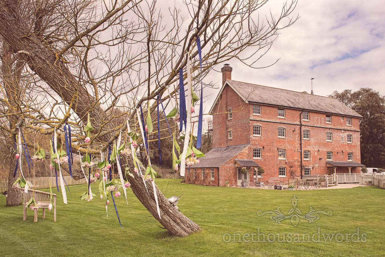 Flower and ribbon tree decoration from wedding at Sopley Mill