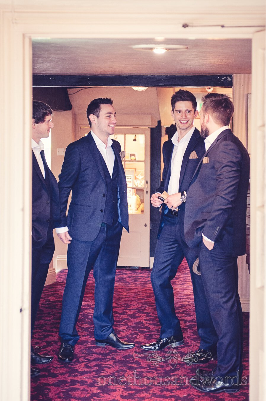 Groom and best men before wedding at Sopley Mill
