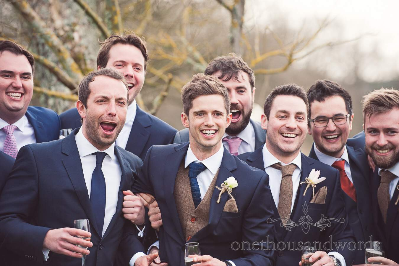 Groom and friends from wedding at Sopley Mill