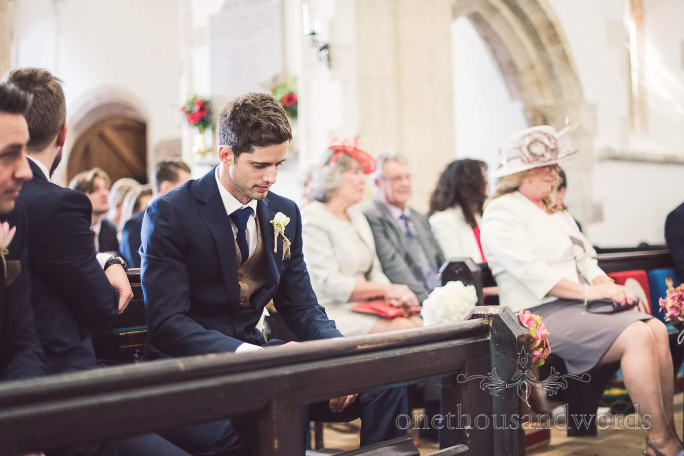 Groom awaits his bride from wedding at Sopley Mill